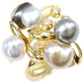 【9/20限定カードエントリーでP11倍確定】真珠 K18イエローゴールド×パール×ダイヤモンド 12号 0.06刻印 レディース リング・指輪【中古】SAランク