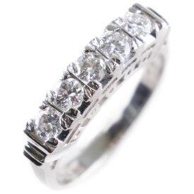 【9/20限定カードエントリーでP11倍確定】一文字 Pt850プラチナ×ダイヤモンド 8.5号 0.45刻印 レディース リング・指輪【中古】SAランク