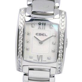 【EBEL】エベル ブラジリア 1215607 ステンレススチール×ダイヤモンド クオーツ レディース ホワイトシェル文字盤 腕時計【中古】A-ランク