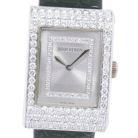 【Boucheron】ブシュロン リフレ ダイヤベゼル K18ホワイトゴールド×ダイヤモンド×レザー クオーツ レディース シルバー文字盤 腕時計【中古】A-ランク