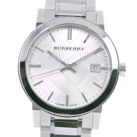 【BURBERRY】バーバリー BU9000 ステンレススチール クオーツ メンズ シルバー文字盤 腕時計【中古】