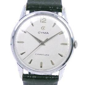 【CYMA】シーマ R459 15692.6 ステンレススチール×レザー 手巻き メンズ シルバー文字盤 腕時計【中古】