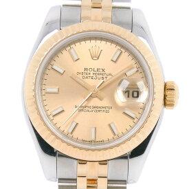 【ROLEX】ロレックス デイトジャスト 179173 ステンレススチール×YG ゴールド 自動巻き レディース ゴールド文字盤 腕時計【中古】Aランク