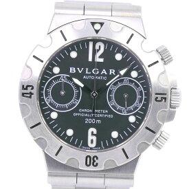 【自社ポイント5倍対象アイテム】【BVLGARI】ブルガリ ディアゴノ スクーバ SCB38S ステンレススチール 自動巻き クロノグラフ メンズ 黒文字盤 腕時計【中古】A-ランク