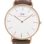 【Daniel Wellington】ダニエル・ウェリントン B36R8 ステンレススチール×レザー ゴールド クオーツ アナログ表示 ユニセックス 白文字盤 腕時計【中古】
