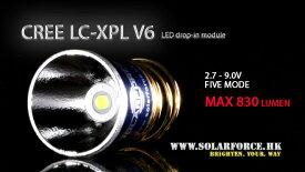 ソーラーフォース Cree LED XP-L V6 バルブ 電球 ドロップインモジュール 5モード 電圧2.7V-9V対応 Solarforce 懐中電灯/フラッシュライト用 P60互換 シュアファイア / ウルトラファイア / G&Pの一部ライトに装着可能