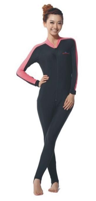 ラッシュガード ウェットスーツインナー 一体型 女性用 ダイビング ウェア ダイブスキン レディース 日焼け防止 UPF 50+ UVカット 素材 ナイロン SPENDEX 伸縮性素材 ピンク XS/S/M/L LS-704 Dive&Sail 送料無料