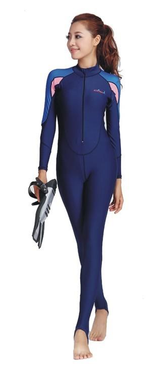 ラッシュガード ウェットスーツインナー 一体型 女性用 ダイビング ウェア 新型 ダイブスキン レディース 日焼け防止 UPF 50+ UVカット 素材 ナイロン SPENDEX 伸縮性素材 ブルー ピンク XS/S/M/L LS-715 Dive&Sail 送料無料