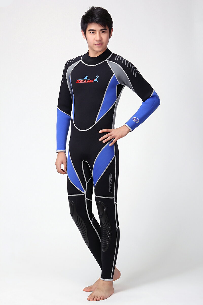ウェットスーツ 男性 メンズ ダイビング用 ウェットスーツの厚さ 3mm CR(クロロプレーン)素材 ブルー 5サイズ S/M/L/XL/XXL WDS-4125 Dive&Sail