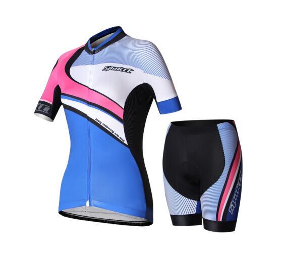 サイクルウェア 上下セット SPAKCT レディース 女性用 色/ ブルー+ ピンク サイクリング用 ジャージ ハーフパンツ 半袖 半ズボン S/M/L/XL/XXL