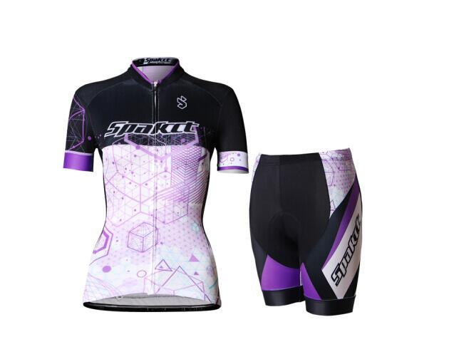 サイクルウェア 上下セット SPAKCT レディース 女性用 色/ パープル 紫 サイクリング用 ジャージ ハーフパンツ 半袖 半ズボン S/M/L/XL/XXL