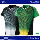 ミズノ:MIZUNOゲームシャツ72MA8003UNISEX:男女兼用ゲームウェアユニフォームバドミントンテニス日本バドミントン協会審査合格品