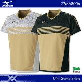 ミズノ:MIZUNOゲームシャツ72MA8006UNISEX:男女兼用ゲームウェアユニフォームバドミントンテニス日本バドミントン協会審査合格品