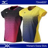 ミズノ:MIZUNOゲームシャツ72MA7202レディース女性用ゲームウェアゲームシャツバドミントンテニス日本バドミントン協会審査合格品
