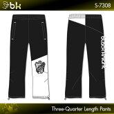 ブラックナイト:blackknight七分丈パンツS-7308UNISEX:男女兼用ブラックホワイト(BLAWHT)トレーニングウェアバドミントンテニススカッシュ