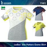 ゴーセン:GOSENレディース星柄ゲームシャツT1811レディース:女性用ゲームウェアゲームシャツバドミントンテニスバドミントンウェアテニスウェアサイズ:S,M,L,LL,XL日本バドミントン協会審査合格品