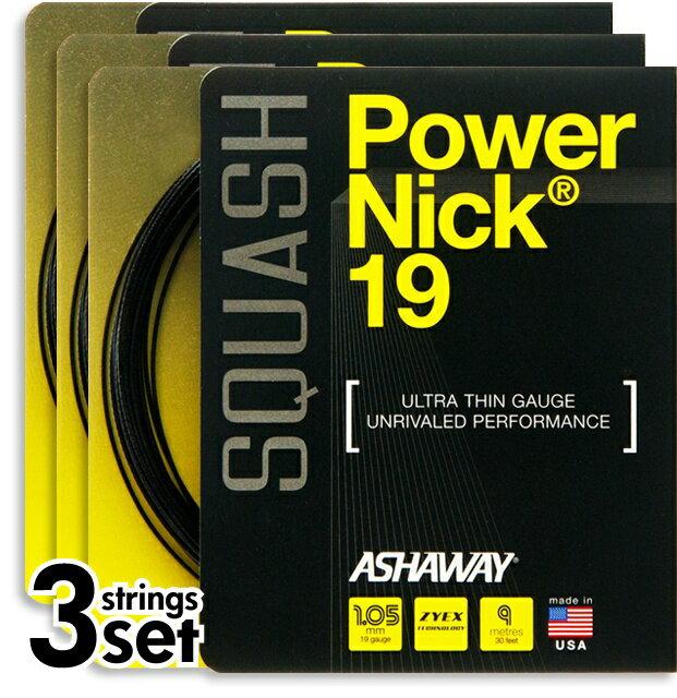 スカッシュストリング、ガットASHAWAY:アッシャウェイパワーニック19Power NIck193本セット