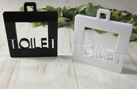 ハンドメイド アクリル製 サインプレート「TOILET」選べるカラー ホワイト&ブラック トイレプレート 壁掛け インテリア 手作り雑貨 白黒 厚さ5mm