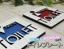 ハンドメイド MEN & WOMEN 2枚セットおしゃれな 木製 壁付け トイレプレート サインプレート ドアプレート インテリア…