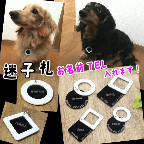 シンプル 迷子札 名札 選べる4デザイン ブラック&ホワイト 組合せ アクリルチャーム 「名前 TEL 入れます」 隠れるデザイン 犬 猫 グッズ ネームプレート