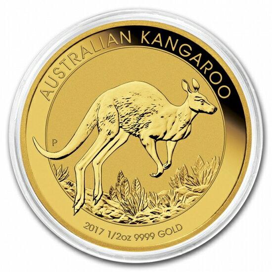 新品未使用 2017  オーストラリア、カンガルー金貨 1/2オンス クリアーケース付き