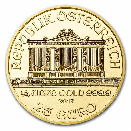 新品未使用 2017 オーストリア ウィーン金貨 1/4オンス(22.5mmクリアーケース付き)