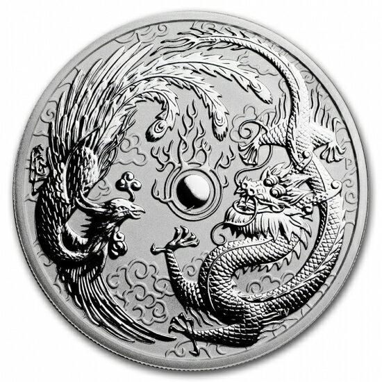 新品未使用 2017 オーストラリア 干支 「鳥とドラゴン」 銀貨 1オンス クリアーケース付き