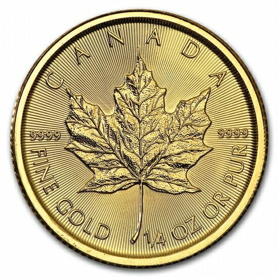 新品未使用 2018 カナダ メイプル金貨 1/4オンス 真空パック入り