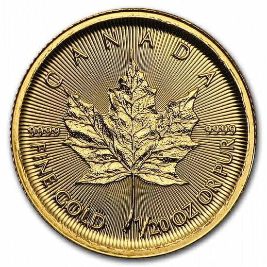 新品未使用 2018 カナダ メイプル金貨1/20オンス 真空パック入り