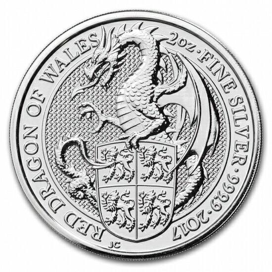 新品未使用 2017 イギリス Great Britain 2 オンス 銀貨 クィーンズビースト (The Dragon)