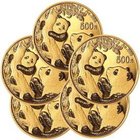 【5枚】2021 中国 パンダ 金貨 30グラム 500元 ■【5枚】セット 真空パック入り 新品未使用