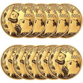 【10枚】2021 中国 パンダ 金貨 30グラム 500元 【10枚】セット 真空パック入り 新品未使用