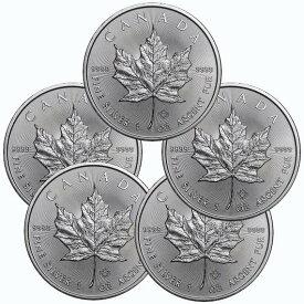 2021 カナダ メイプルリーフ銀貨 1オンス ■【5枚】セット 38mmクリアーケース付き 新品未使用 (1月下旬以降発送予定)