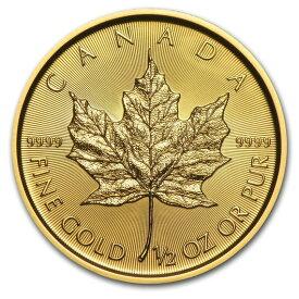 2019 カナダ メイプルリーフ金貨 1/2オンス (25mmクリアーケース付き) 新品未使用