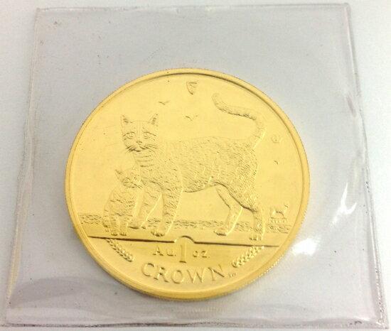マン島キャット金貨2002年製 1オンス クリアーケース付き A