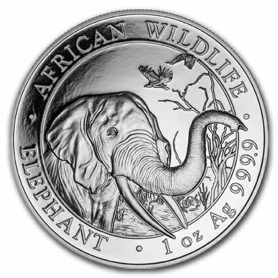 新品未使用 2018  アフリカ ソマリア エレファント銀貨 1オンス 39mmクリアーケース付き