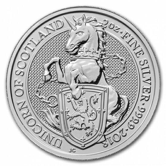 新品未使用 2018 イギリス 2 オンス 銀貨 クィーンズビースト (ユニコーン)