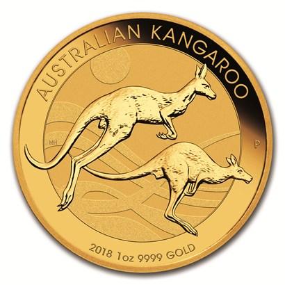新品未使用 2018 オーストラリア、カンガルー金貨 1オンス 32mmクリアーケース付き
