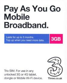 ヨーロッパ 海外グローバルSim 3 UK SIM データ通信3GB 60日間世界42カ国で使用可能!!