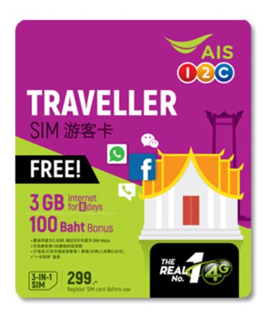 タイ プリペイドSIM販売!AIS 1-2 Call 4G/3G TRAVELLER Simカード 299B版【3GBデータ定額と100B無料通話付き!】