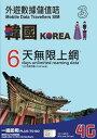 韓国 プリペイド SIMカード!3G/4Gデータ通信【6日間6GBデータ定額】3HK