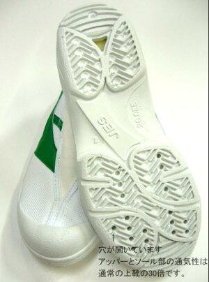 送料無料★上履き・上靴★★穴開き、呼吸シューズJES2101緑16.0cm〜25.0cm