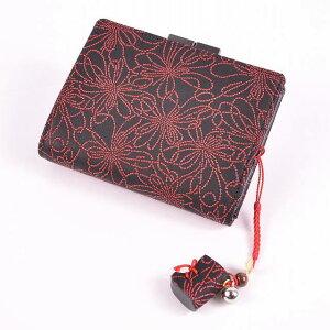 【印傳屋(いんでんや)(印伝)】財布と根付のセット115蟇札(赤地白漆・梅)+根付(巾着型)《無料ラッピング承ります》《送料無料》クリスマスプレゼントに最適!