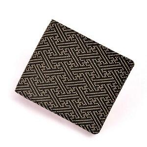 【印傳屋】【印伝屋】の財布札入C黒地白漆・黒地白漆・紗綾形《無料ラッピング承ります》【RCP】【メンズ財布/二つ折り財布(小銭入れあり)】