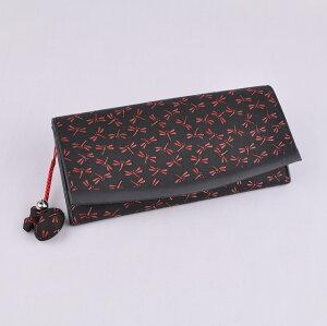 【印傳屋(いんでんや)(印伝)】束入T(長財布)黒地ピンク漆・雪割草《無料ラッピング承ります》