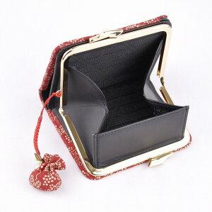 【印傳屋(いんでんや)(印伝)】財布と根付のセット105蟇札(赤地白漆・ぶどう)+根付(巾着型)《無料ラッピング承ります》《送料無料》【こだわりのギフト】や【誕生日】【記念日】などのプレゼントに最適!