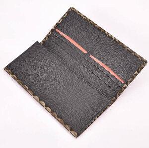 【印傳屋(いんでんや)】財布束入C(長財布タイプ)黒地白漆・波うろこ《無料ラッピング承ります》