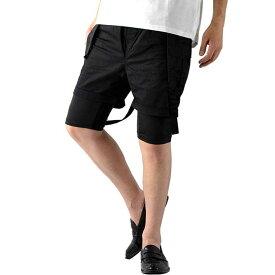 ショートパンツ モード系 ショートパンツ サスペンダー ショートパンツ レギンス カーゴパンツ スリム メンズ 黒 フェイクレイヤード 重ね着風 ハーフパンツ 韓国 完成されたレイヤード豊富な表現力でおしゃれ度UP
