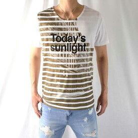 Tシャツ ボーダー Tシャツ Uネック Tシャツ 半袖 フォトTシャツ プリントTシャツ カットソー 半袖Tシャツ ロゴ 風景 韓国 ブラインドの様な斬新な構図がセンスを魅せる