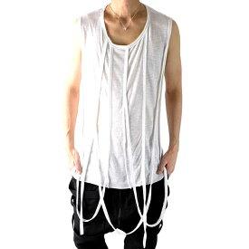 ノースリーブ Tシャツ タンクトップ メンズ モード系 スラブ模様 Uネック コード ドレープ カットオフ加工 アシンメトリー 夏 トップス きれいめ おしゃれ 個性 衣装 ホワイト カットソー 切りっ放し 韓国 個性を引き立てる斬新なアクセントで一味違うカッコよさを創出